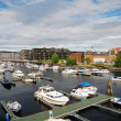 The Nidelva river outlet in Trondheim. - Stock Photo