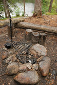 Bonfire site of camp. — Stock Photo