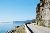 Summer road along the coast of Mageroya. — Stock Photo