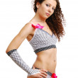Frizzy girl in polka dot erotic clothes with bows — Stock Photo