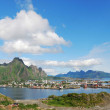 Panorama of Lofoten islands with small town — Stock Photo