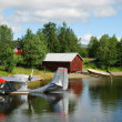 Summer shore of forest lake with hydroplane moored. — Stock Photo