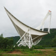 图库照片: Large radio telescope in Norwegian mountains.