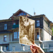 Old photo on the background of an building repairing - Stock Photo