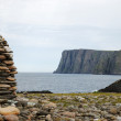 Stock Photo: View of North Cape with milestone.