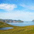 Blue lakes and moss hills of summer Soroya. — Stock Photo
