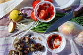 Close-up of picnic food — Stock Photo