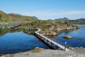 Small island with fishing village in the middle of fjord, Mageroya. — Stock Photo