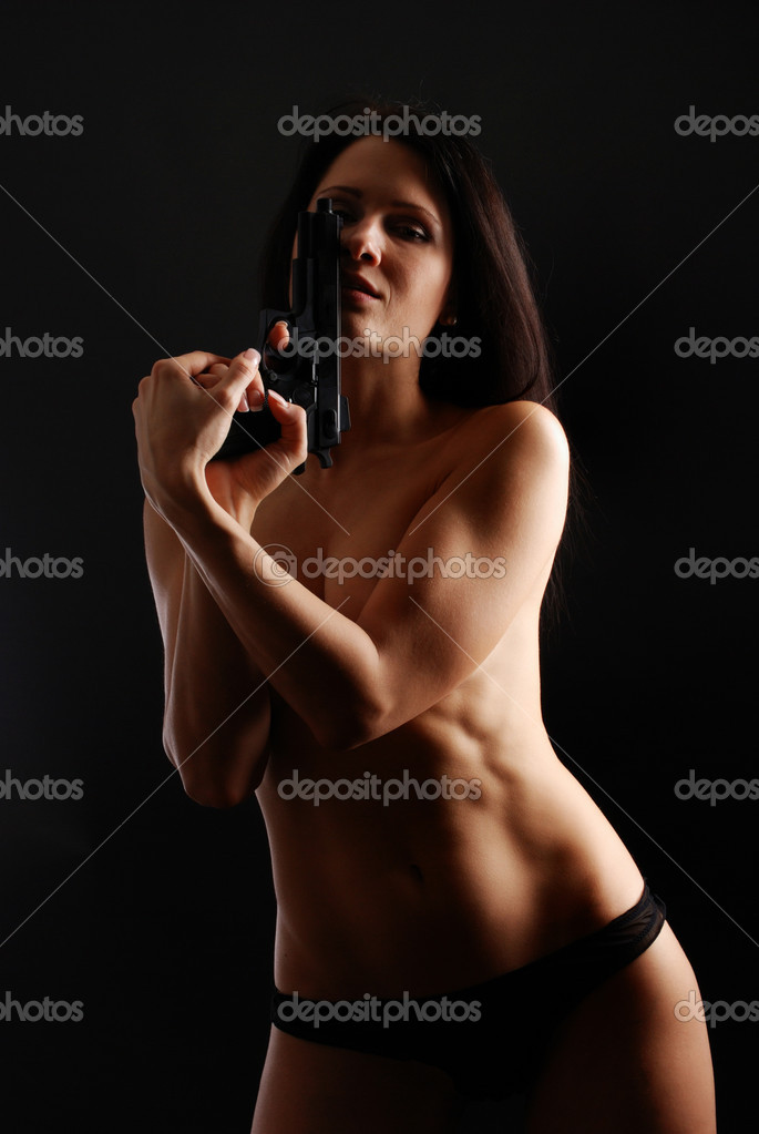 Girls nude holding guns
