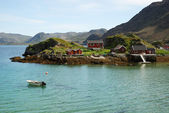 Island with fishing village in the middle of fjord, Mageroya. — Stock Photo