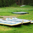 Stock Photo: Rafts and canoes in the green glade.