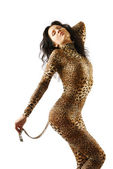 Woman in dappled catsuit — Stock Photo