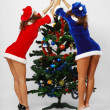 Happy Santas decorating the Christmas tree. — Stock Photo