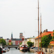City canal with ships in Copenhagen. — Stock Photo