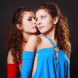 Pretty twins whispering — Stock Photo