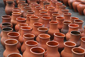 Many ceramic jugs outsides — Stock Photo