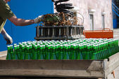 Stowage of wine bottles with autoloader — Stock Photo
