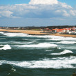 Stock Photo: Continuous waves surging towards oceanfront near Biarritz.