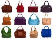 Set of multicolored female bags-1 — 图库照片
