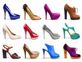 Multicolored female shoes — Stock Photo