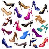 Vícebarevné žena boty pozadí-1 — Stock fotografie
