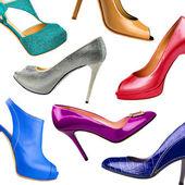 Mångfärgade kvinna skor bakgrund-4 — Stockfoto