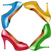 色とりどりの女性靴背景 9 — ストック写真