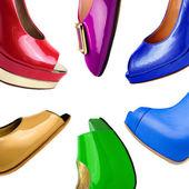 多彩多姿的女性鞋背景 5 — 图库照片