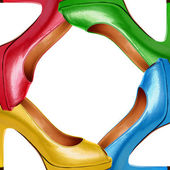 Multicolored female shoes background-7 — Stock Photo