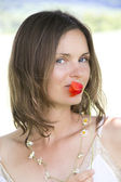Poppy lips — Stockfoto