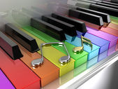 The rainbow piano — Stock Photo