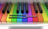The multicoloured piano — Stockfoto