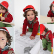 Foto Stock: Baby imitating architect, collage