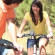 Youth on bike — Stock Photo