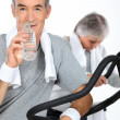 Stock Photo: Elderly couple at the gym
