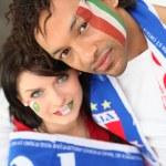Couple of italian supporters — Stock Photo #10836651