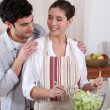 Couple preparing a salad together — Stock Photo #10837296