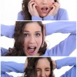 Montage of scared brunette — Stock Photo