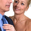 Mature couple in evening dress — Stock Photo