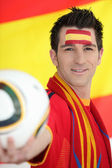 Man supporting the Spanish soccer team — Stock Photo