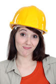 Bemused female builder — Stock Photo