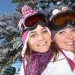 Two ski friends — Stock Photo