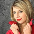 Seductive blond wearing red lip-stick - Стоковая фотография