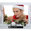 Woman in a television screen — Stock Photo #10842716