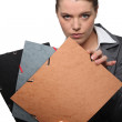 Stock Photo: Businesswoman showing files