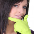 Closeup of a woman wearing household rubber gloves — Stock Photo #10843947