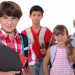 Children going to school - Stock Photo