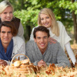 Two couples with a basket of mushrooms — Stock Photo #10845763