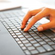 Royalty-Free Stock Photo: Hand placed on laptop keyboard