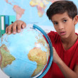 Pupil with globe — Photo